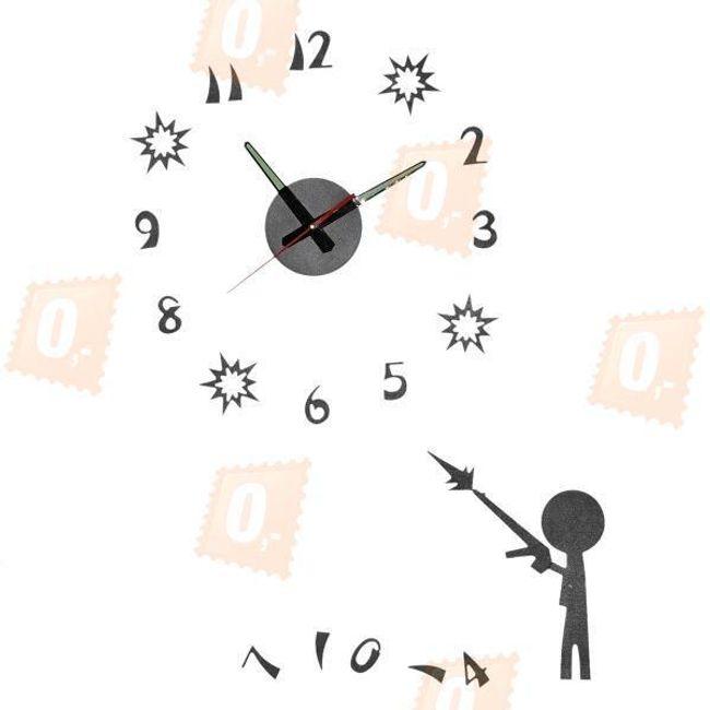 Originální fluorescentní nástěnné hodiny - černé 1