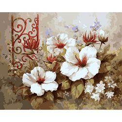 DIY slikanje po brojevima - belo cveće