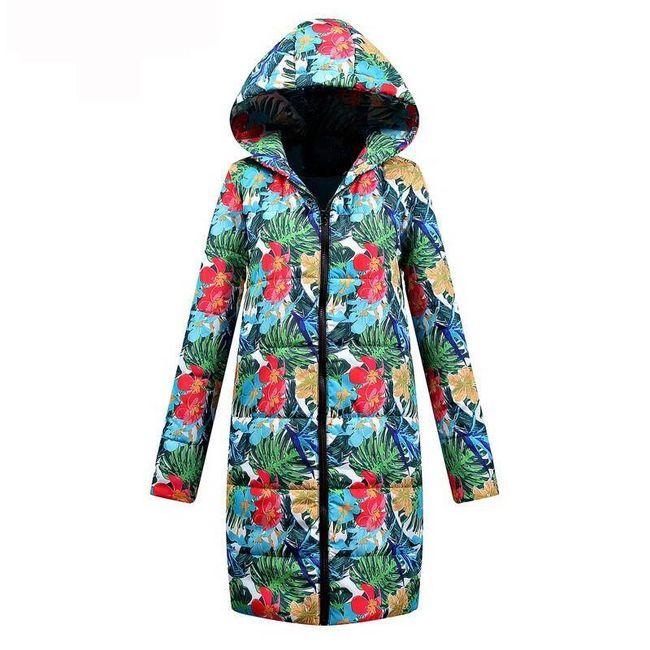 Dámský kabát s květinovými vzory - velikost č. 4 1