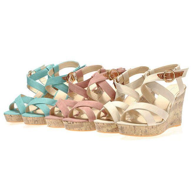 Dámské módní sandály na klínku ve 3 barvách 1