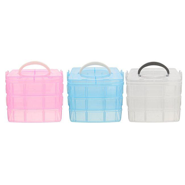 Пластиковый контейнер для хранения украшений или бисера, 3-х слойный- 3 расцветки 1