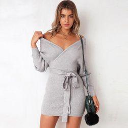 Dámské pletené šaty s mašlí - 5 barev