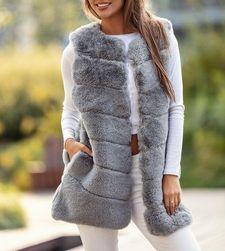 Dámská kožíšková vesta - šedá