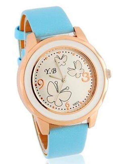 Dámské hodinky s motýlky a modrým páskem 1