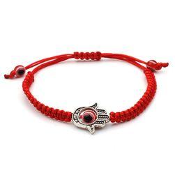 Вязаный браслет Хамса красного цвета