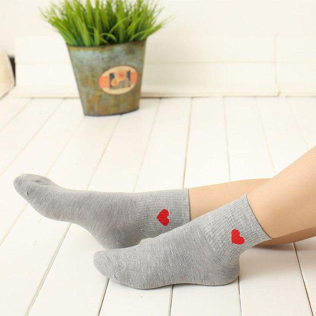 Vysoké ponožky se srdíčkem - 3 barvy 1