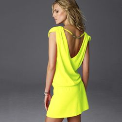 Damska sukienka w różnych kolorach - 11 kolorów Żółty