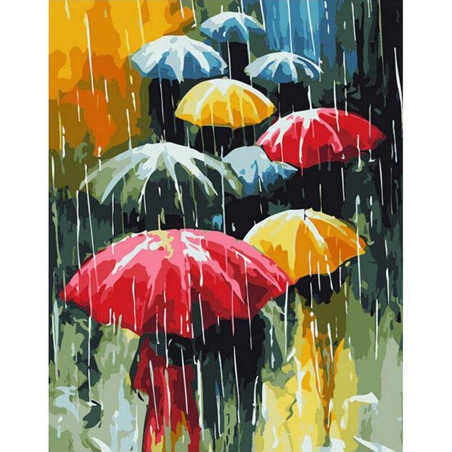 DIY obraz s děštníky 1