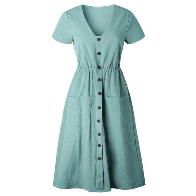 Letní šaty s kapsami - Nebeská Modrá-velikost č. 4 1