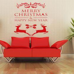 Vánoční samolepka se soby a nápisy