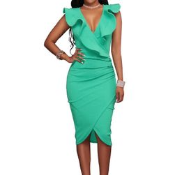 Obleka z volančki okrog dekolteja Zelena-velikost št. 8