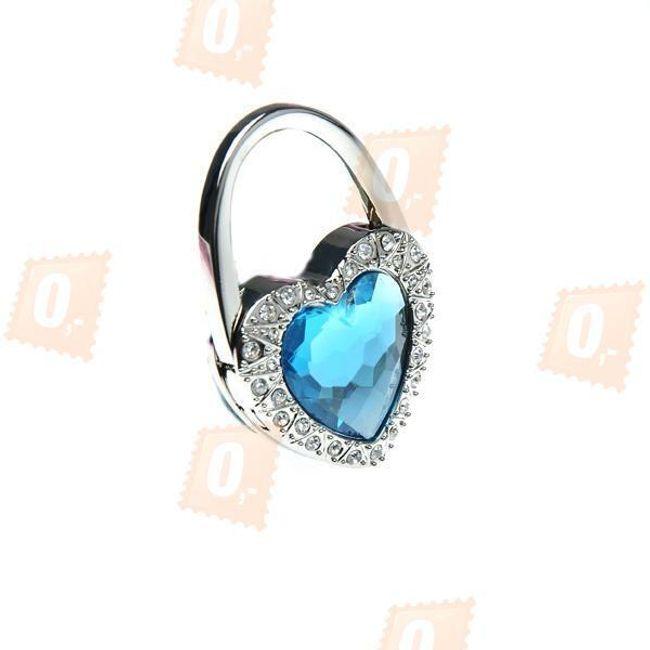 Skládací háček na kabelku ve tvaru srdce - modrý 1