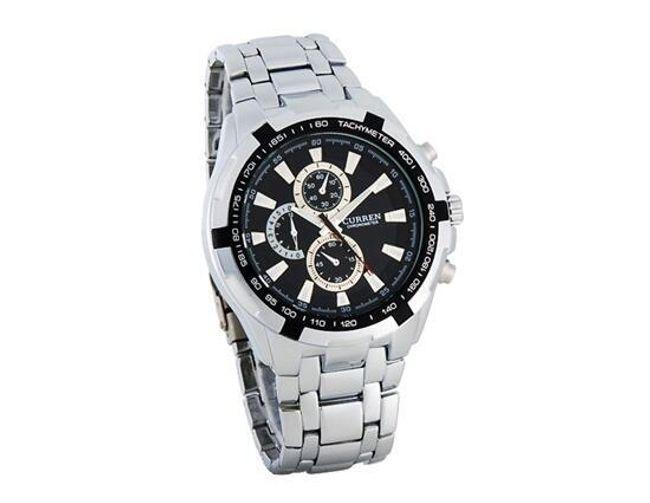 Pánské hodinky ve stříbrné barvě s černým podkladem 1