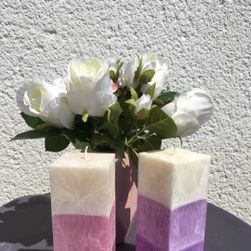 Svíčka kvádr 3 barvy růžový