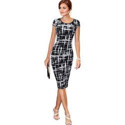 Elegantní dámské šaty s koženkovým zdobením na rameni
