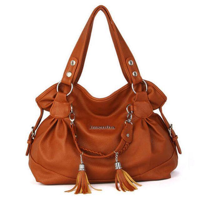 Jednobarevná kabelka zdobená střapci - 10 barev 1