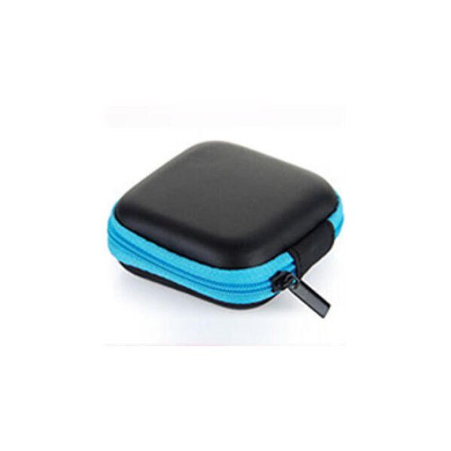 Koženkové pouzdro na sluchátka - Modrá 1