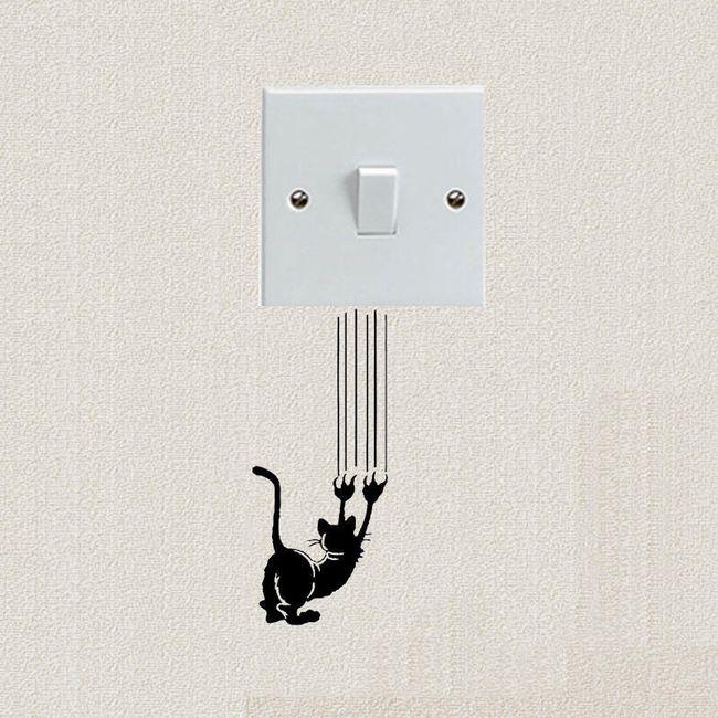 Samolepka pod vypínač s kočkou 1
