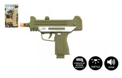 Plastikowy pistolet maszynowy 17,5 cm na baterie z dźwiękiem i światłem 2 kolory RM_00850043