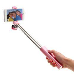 Selfie stick telescopic cu Bluetooth - roz