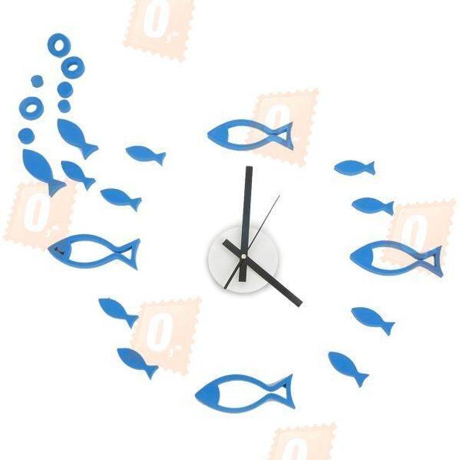Nástěnné designové hodiny - vodní svět, modré 1