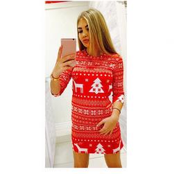 Rochie tricotată pentru femei cu motive de Crăciun