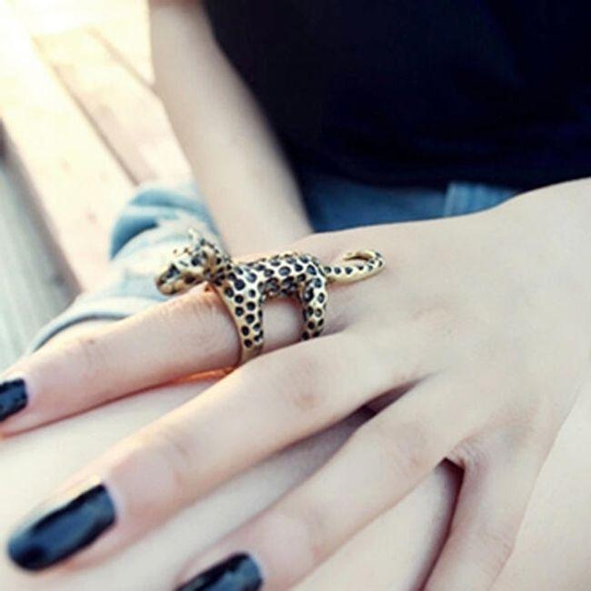 Oryginalny vintage pierścionek w kształcie lamparta - do wyboru 2 kolory 1
