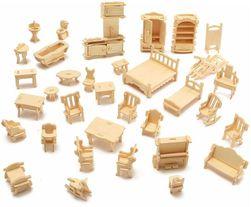 Mobiler în miniatură din lemn - 34 bucăți