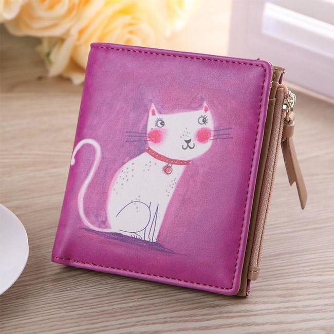 Dámská peněženka - malovaná kočička 1