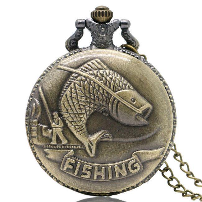 Vintage kapesní hodinky pro rybáře 1