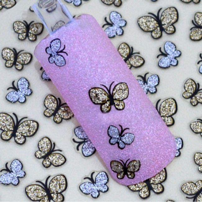 Ragasztó körömdíszek - csillogó pillangók 1
