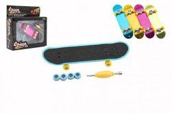 Skateboard prstový skrutkovacie plast 9cm s doplnkami 4 farby v krabičke 14x14x4cm RM_00850337