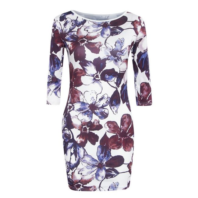 Női ruha háromnegyed ujjú és virágmintával