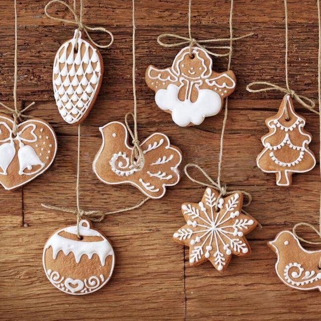 Umetni božični okraski v slogu medenjakov - 11 kosov 1