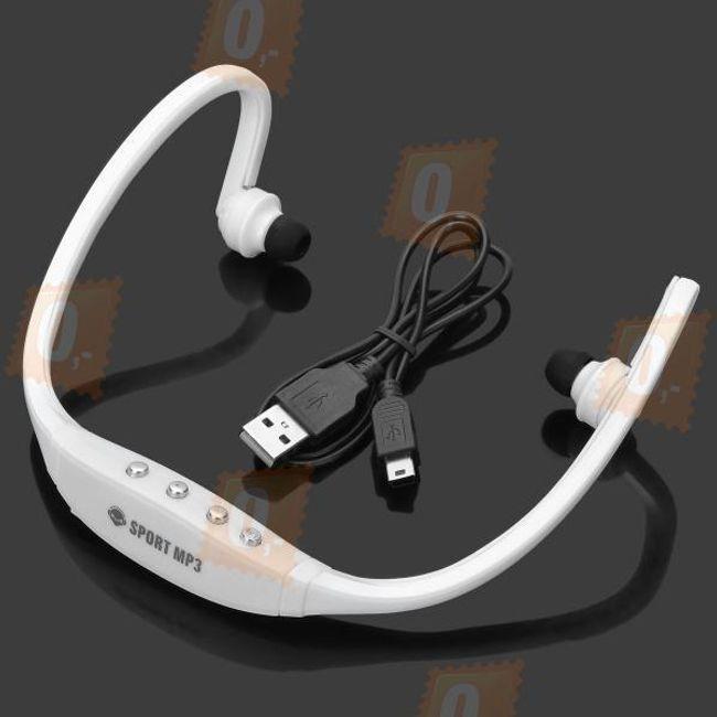 Bílý sportovní MP3 přehrávač na paměťovou kartu 1