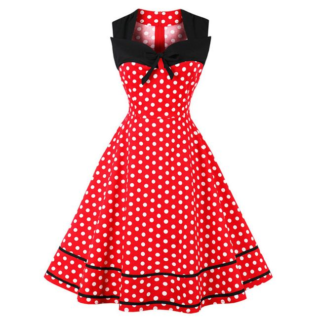 Retro šaty s puntíky - Červená-velikost č. 3 1