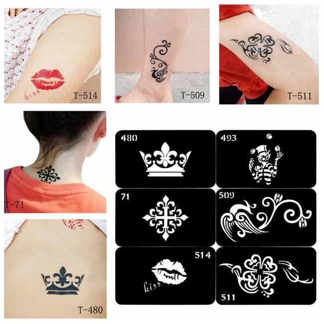 Шаблон для временной татуировки- разные мотивы 1