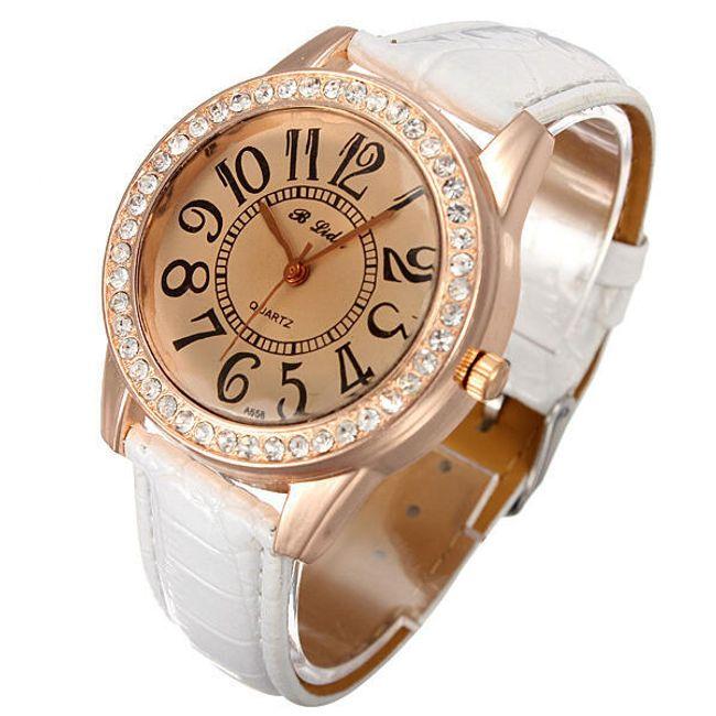 Dámské náramkové hodinky zdobené třpytivými kamínky - bílé 1