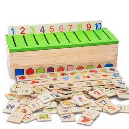 Дървена образователна кутия за деца