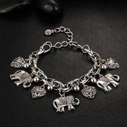 Bratara cu elefanti si inimioare