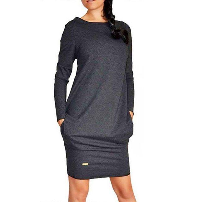 Preprosta ženska obleka z dolgimi rokavi - 3 barve 1