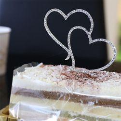 Dvojité srdce - ozdoba na dort