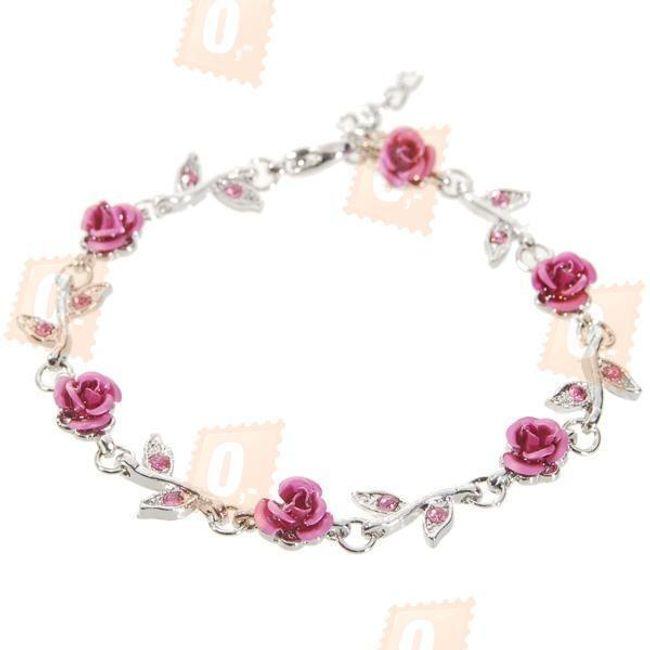 Bransoletka z ozdobnymi różowymi kwiatkami róży (18,9cm) 1