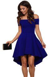 Dámské společenské šaty bez ramínek - modrá barva