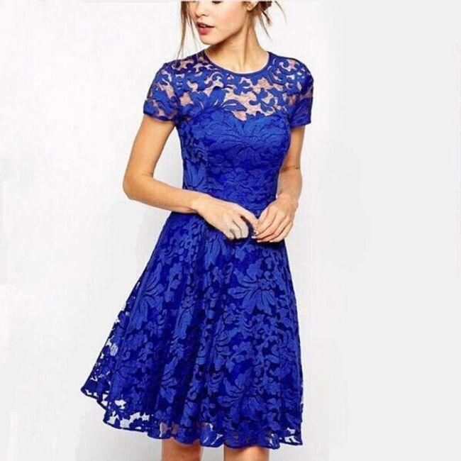 Dámské elegantní krajkované módní šaty - Modrá - 6 1