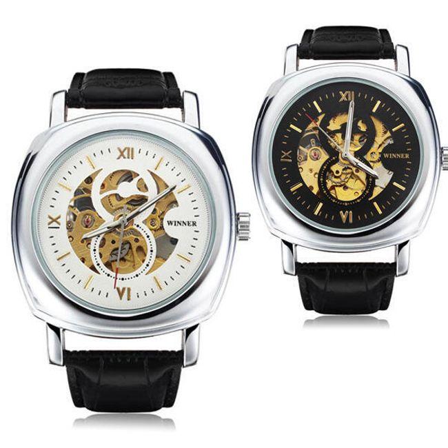 Samonatahovací hodinky Winner s průhledným ciferníkem 1