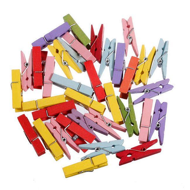 Kolorowe drewniane klamerki - 100 sztuk 1
