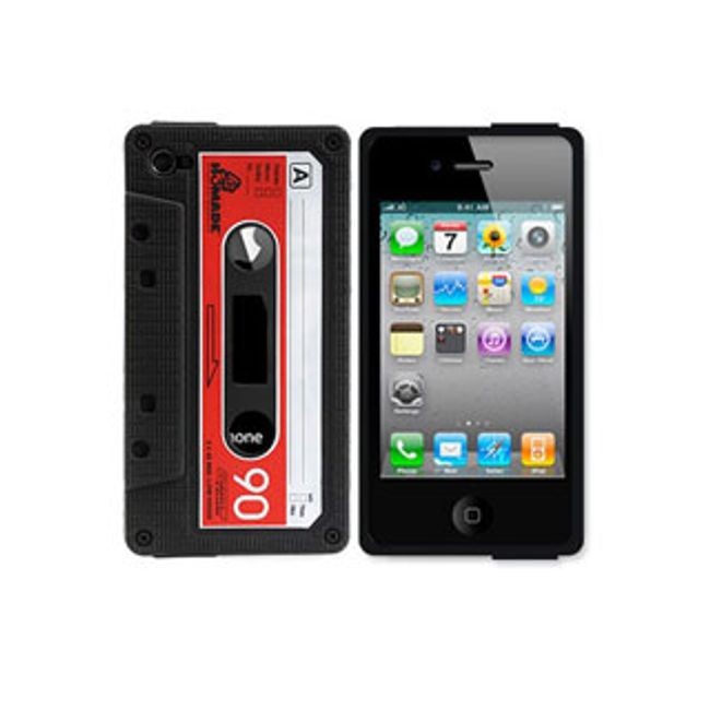 Silikonový obal na iPhone4 s motivem klasické kazety - černý 1