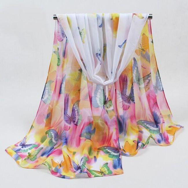 Pestrobarevné šátky s květinami/ s motýli 1