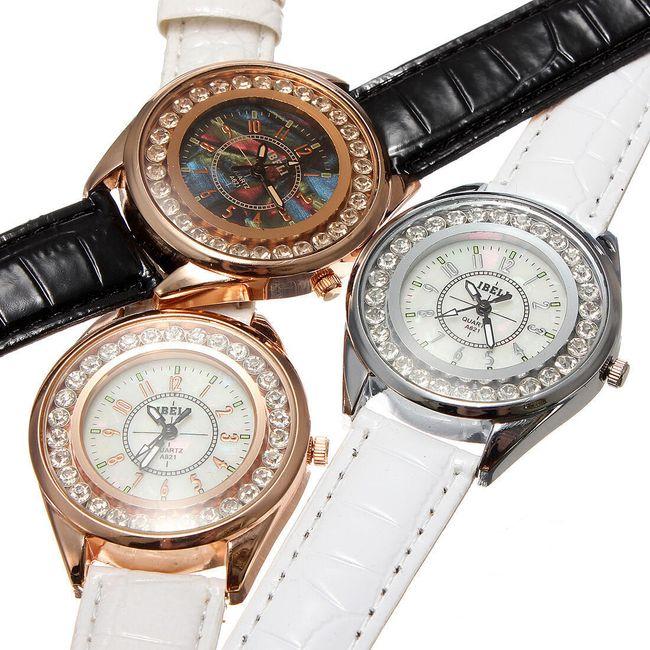 Dámské analogové hodinky zdobené třpytivými kamínky - na výběr ze 3 provedení 1